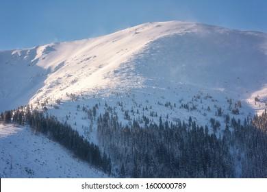Winter mountain landscape, snowy peak in Low Tatras, Slovakia (Slovensko)