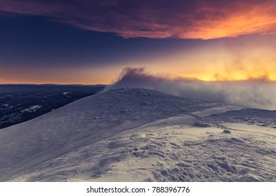 Winter mountain landscape - sunrise on Babia Gora, Poland
