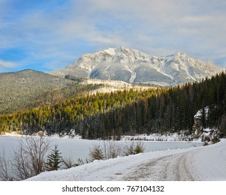 A winter mountain landscape in Whiteswan Provincial Park, near Fairmont Hot Springs and Invermere British Columbia, Canada