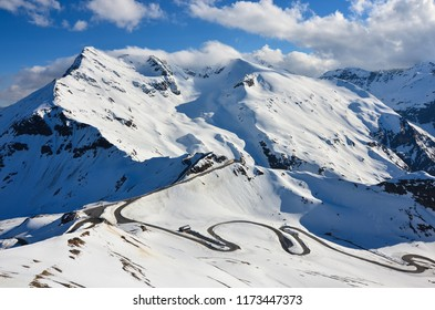 Winter, Mountain road in Austria
