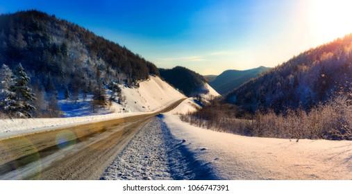 Winter mountain road. Sakhalin.