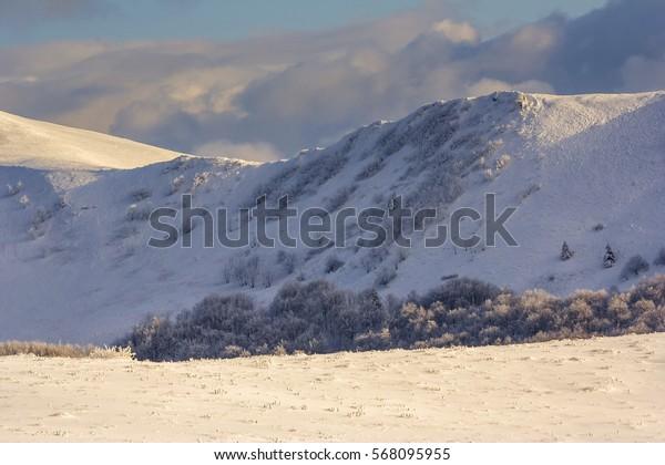 Winter mountain scenery in Bieszczady mountains, South Eastern Poland