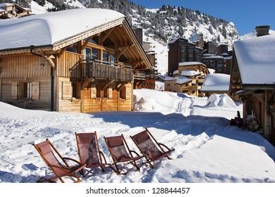 Winter mountain ski resort with snow.