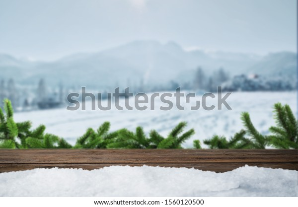 Winter mountain snow background, Christmas tree
