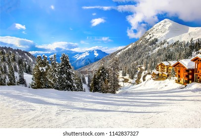 Winter mountain snow ski resort landscape. Winter mountain snow resort view. Snow mountain resort panorama