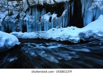 Winter Mountain Stream, Nishiwaga Town, Iwate Prefecture