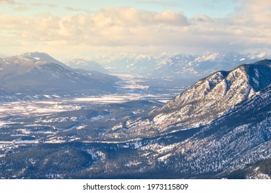 Winter mountain top view down the Columbia Valley near Invermere British Columbia, Canada