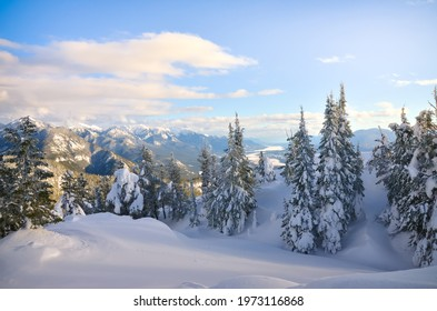 Winter mountain top view with trees in the Kootenay region near Invermere British Columbia, BC