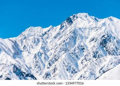 Winter mountain view in Hakuba, Nagano, Japan.