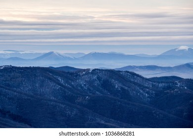 Winter mountain view from the Kopitoto Hill, Vitosha Mountain, Sofia, Bulgaria