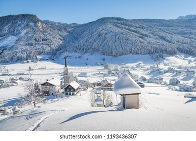 Winter mountain village at Gosau with Dachstein, Austria