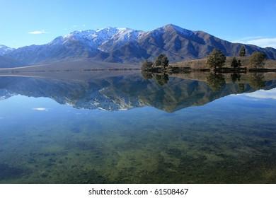 Winter mountain vista across Lake Benmore, Waitaki valley, New Zealand