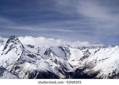 Winter Mountains. Caucasus Mountains, Dombay.