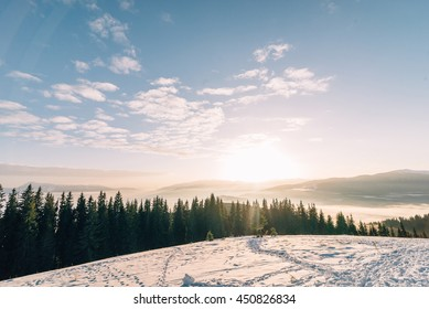 Winter mountains on a sunny day with beautiful views - space for text