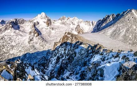 Winter mountains panorama in High Tatras, Slovakia, Europe