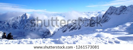 Winter mountains panorama snowcapped