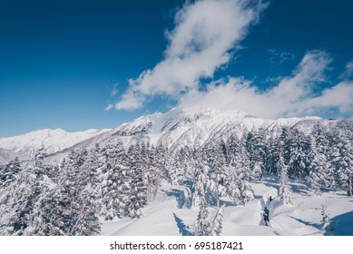 Winter moutains with snow, Kamikochi, Japan