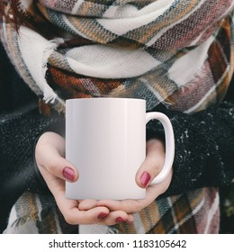 Winter mug mock-up. White blank coffee mug to add custom design or quote. Perfect for businesses selling mugs, just overlay your quote or design on to the image.