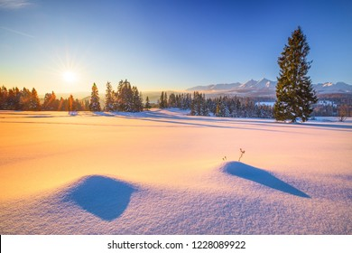 Winter natural background. Frosty winter morning in the mountains. Landscape with snowy mountain peaks and a snow covered valley. Bright winter sun in a clear blue sky above the forest.