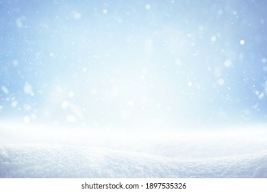 winter nature snowfall background with copy space