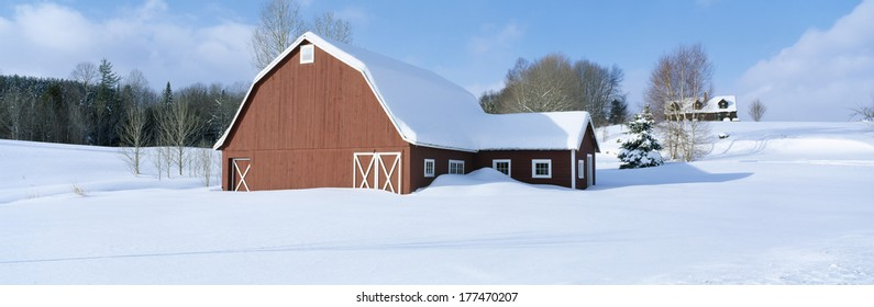 Winter in New England, Red Barn in Snow, South of Danville, Vermont
