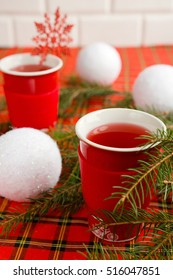 Winter, New Year, Christmas background .Hot drinks on a celebratory table