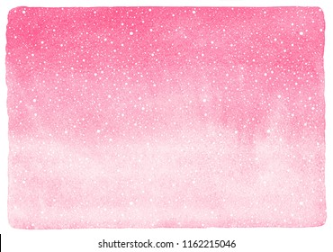 Winter, New Year Christmas watercolor horizontal gradient background. Hand drawn uneven falling snow, snowflakes, texture, pattern. Aquarelle stains fill with uneven edges. Blush pink watercolour.