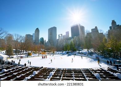 Winter, New York City, 22 Jan 2014 - Ice skaters having fun in New York Central Park