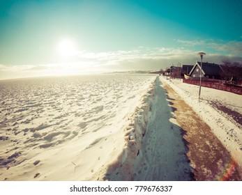 Winter in Nida, Lithuania, frozen sea
