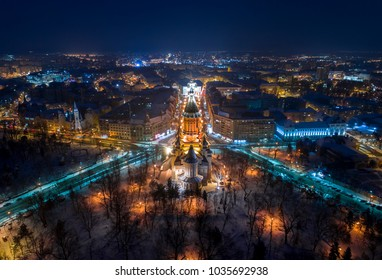 Winter night aerial view from Timisoara, Romania taken by a professional drone - Timi?oara Orthodox Cathedral in middle.