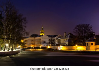 Winter night in Ceske Budejovice at Christmas time.