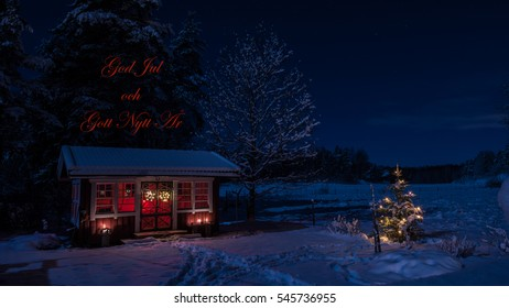 Winter night. Moonlighted view of the snowy garden house with the illuminated christmas tree in Uppland, Sweden. With Greetings in Swedish: Merry Christmas and Happy New Year!