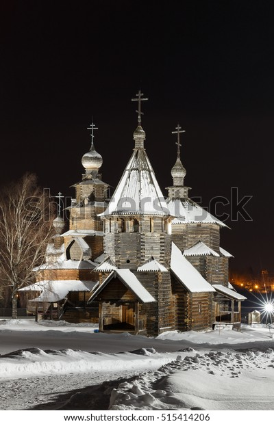 Winter night in the museum of wooden architecture in Suzdal