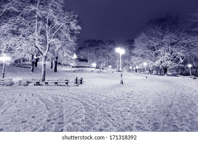 Winter night park in Old Riga, Latvia close to Bastion hill