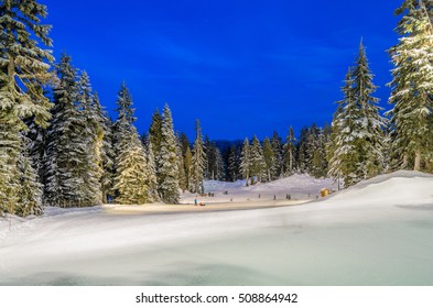 Winter night and snow mountain landscape. British Columbia, Canada, Vancouver. Beauty world.