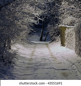 Winter night, snow-covered road