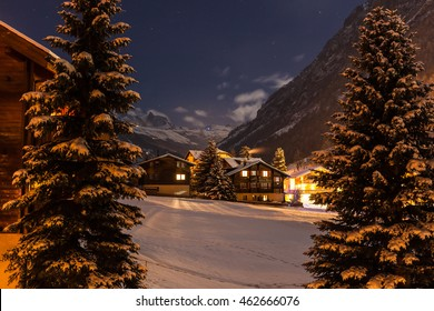 Winter night view with clear sky of the tasch valley, the gate to Zermatt, Switzerland