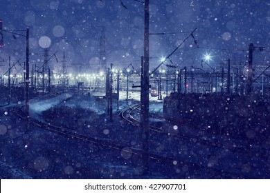 winter night view of the railway north landscape