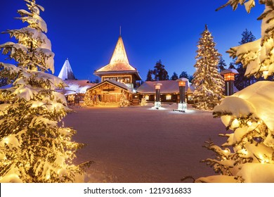 Winter night view of Santa Claus Village in Rovaniemi in Lapland in Finland.