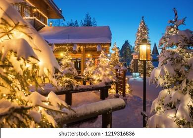 Winter night view of Santa Claus Village in Rovaniemi in Lapland in Finland.