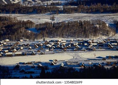 winter North Xinjiang's Kanas Lake & Hemu Village in the winter,sonw and ice world
