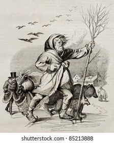 Winter, old allegoric illustration. Created by Grandville, published on Magasin Pittoresque, Paris, 1842.