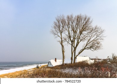 Winter on the Baltic Sea coast in Ahrenshoop, Germany.