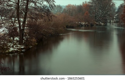 Winter on a river with long exposure
