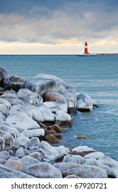 Winter on shore of the Baltic Sea in Warnemuende (Germany).