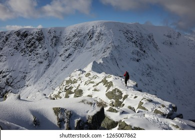 Winter on Striding Edge. Climber crossing the ridge in deep snow, headed towards Helvellyn