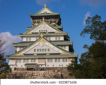 Winter at Osaka castle in japan sunny day