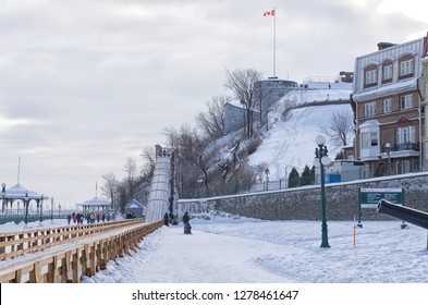 Winter outdoor slides in old Quebec city, Canada