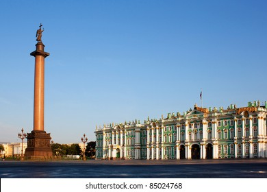 Winter Palace and Alexander Column on Palace Square in St. Petersburg