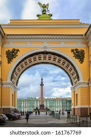 Winter Palace and Alexander Column through the Arch of General Staff, St Petersburg, Russia